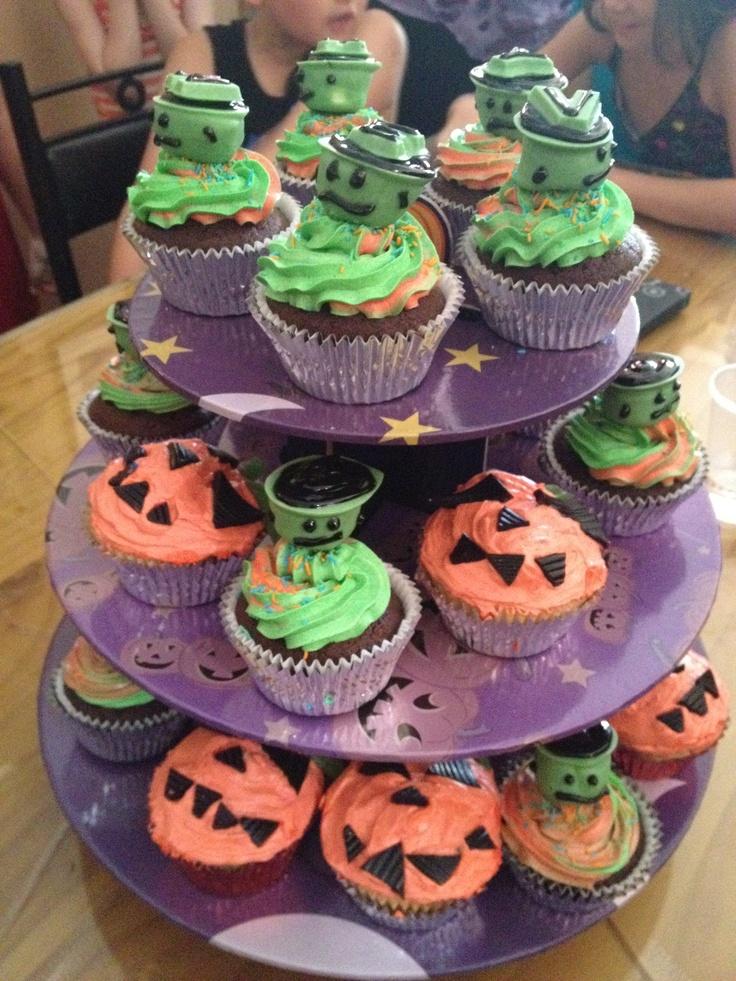 Frankenstein and pumpkin Halloween cupcakes