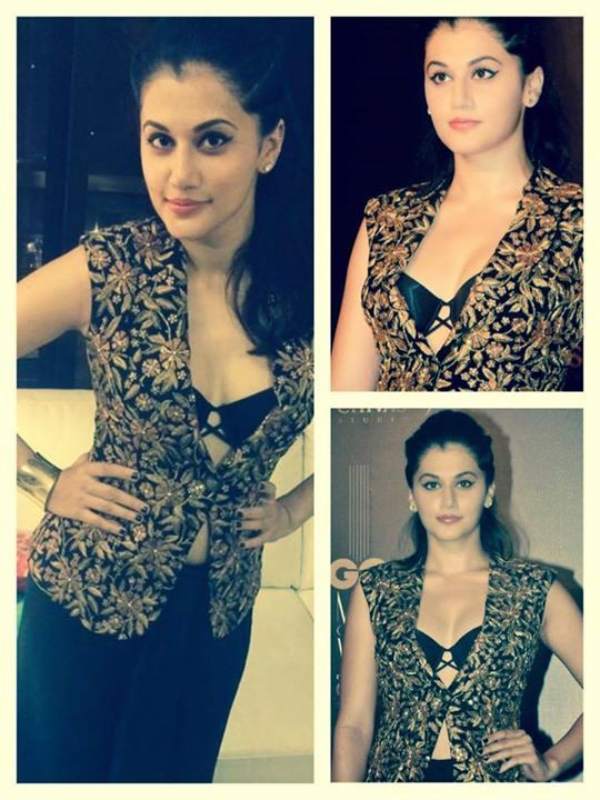 Tapsee Pannu attended the GQ Awards wearing a Shilpa Reddy embellished jacket