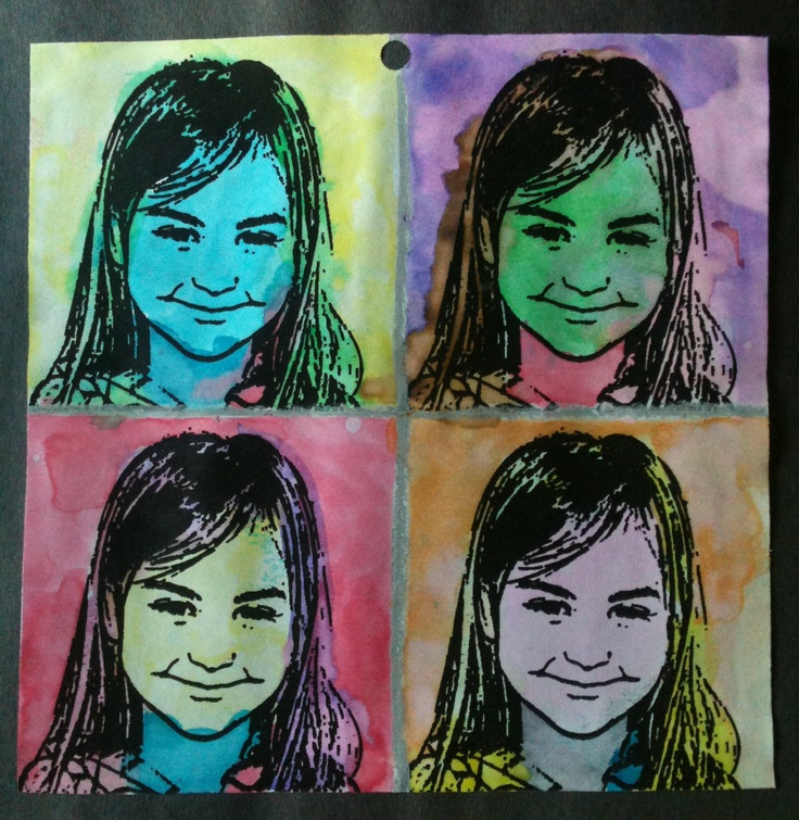 "Andy Warhol Inspired Preschool Art - Kids watercolor over a black and white ""stamp"" image of themselves in multiple colors for a Pop Art look."