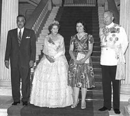 President Gamal Abdel Nasser his wife, Tahia Kazem with Queen Frederika and King Paul I