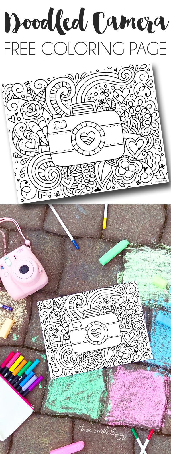 Doodled Camera Free Printable Coloring Page