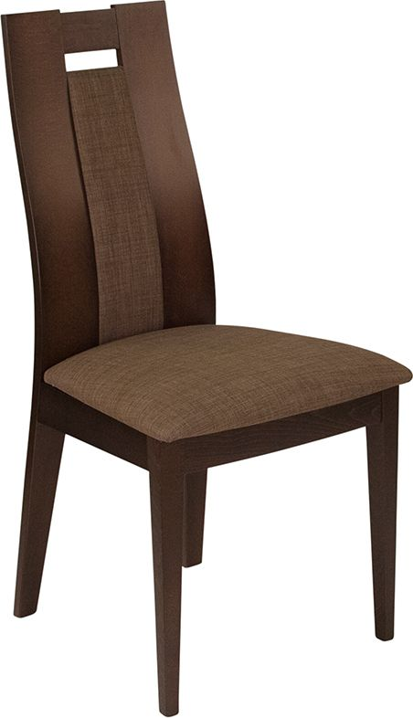 Almont Espresso Finish Wood Dining Chair with Curved Slat Wood and Golden Honey Brown Fabric Sea---Furnish your formal or informal dining room with this elegantly designed chair. Chair features a padded back with wood slats on either side...