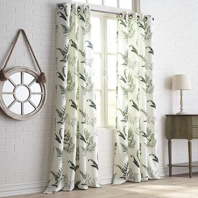 Greenery, greenery, greenery! A mix of foliage designs, subtle textures and restful colors gives our grommet-top curtain a fresh look.