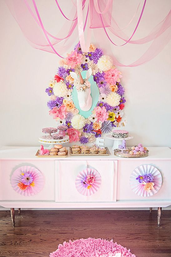 This whimsical dessert table is a #unicorn paradise. (images by Natalie Spencer via On to Baby) | Sweet Tooth