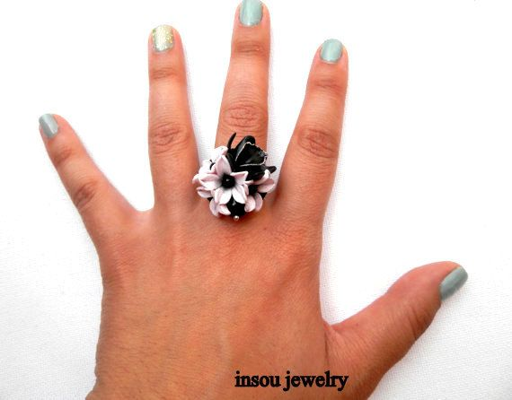 Flower Ring Flower Jewelry Black Orchid Pink Black by insoujewelry