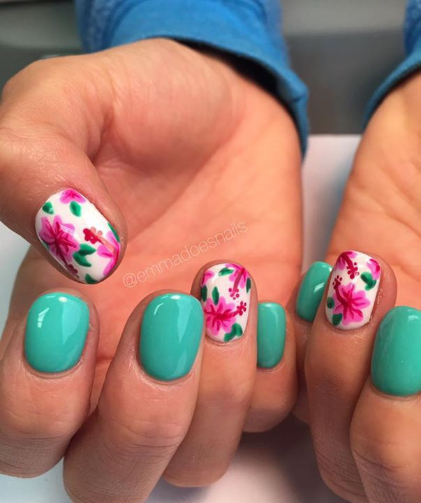 Hawaii nails, floral nails, tropical nails, nails, gel mani, teal nails, nail art, nail design