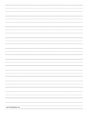 Children learning to print or write cursive can use this dashed paper in school or at home to practice penmanship. It is letter-sized and has ten lines per page, in portrait (vertical) orientation. Free to download and print