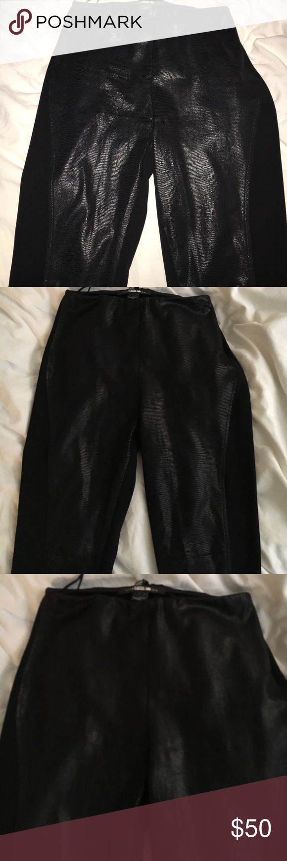 RALPH LAUREN BLK LABEL LEATHER WOOL LYCRA LEGGING Gorgeous embossed leather jeggin from Ralph Lauren's black label Boutique   Side zipper nice fitting throughout ! Retailed 350,,, worn one time and dry cleaned   Label has sticky tab on label from cleaners Size 2. GUARANTEED AUTHENTIC AUTHENTIC!! Nice trousers ,, skinny leg,, more of a tight legging style Ralph Lauren Black Label Pants Skinny