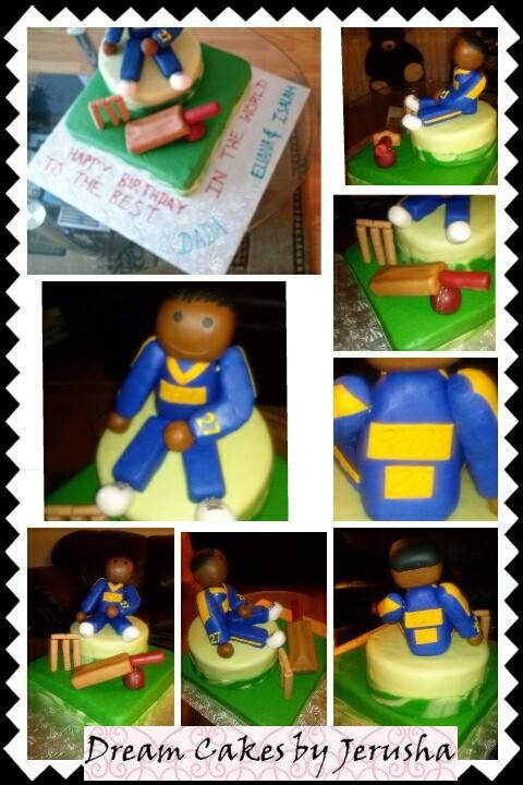 Cricket Themed Cake! Sri Lankan player, bat, ball and stomps made of rice crispies and covered with fondant on top of a circular Vanilla cake and a square chocolate cake covered in fondant!