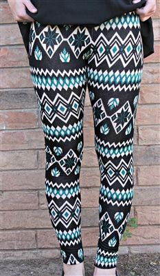 Aztec Print Leggings in Teal - $20