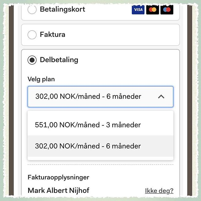 Added Delbetaling as an option for when you order a single Småkassen. Still trying to work out a solution that enables us to do 2 monthly payment terms so we can do this for subscriptions as well. 3 or 6 monthly terms makes no sense if you can get a new Småkassen as early as 2 months after the delivery of the first one.