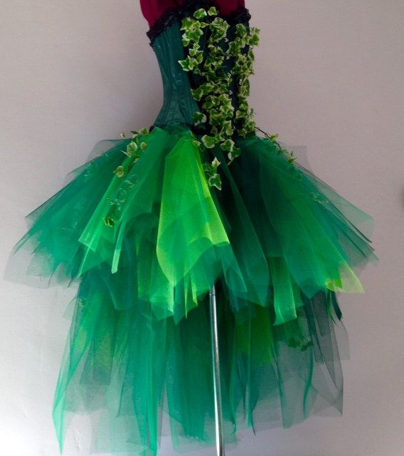 Poison Ivy Katy Perry inspired Burlesque Tutu Skirt and Corset with Silk Ivy Leaves Please chose size at checkout