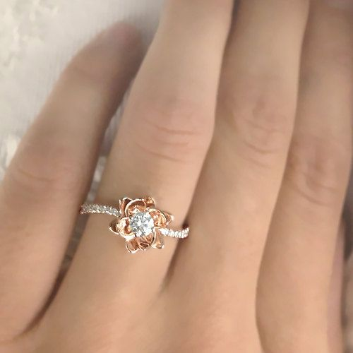 Flower Design - Diamond Engagement Ring Natural Round Cut Diamond 14k White Gold or 14k Yellow Gold - With Selecting Center Diamond on Etsy, $410.00