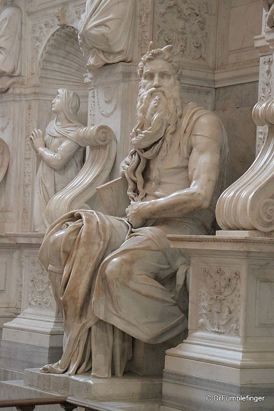 Moses Statue by Michelangelo, Rome, Italy.  Located in St. Peters in Chains church. Michelangelo always thought he was liberating a figure from the marble block that was already in it. He certainly did a fabulous job with Moses.