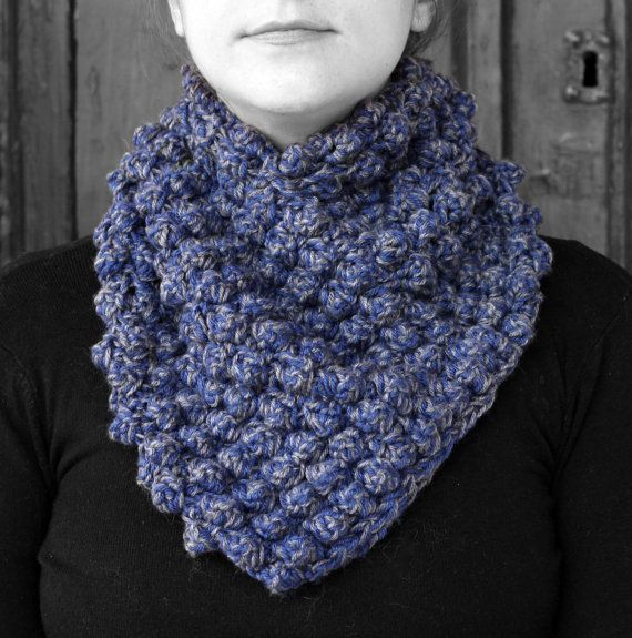 Neck warmer navy blue and grey by MmeDefargeYarnworks on Etsy