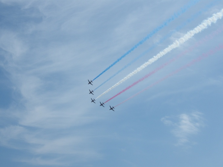 Red Arrows kicking off the Folkestone Airshow 2012
