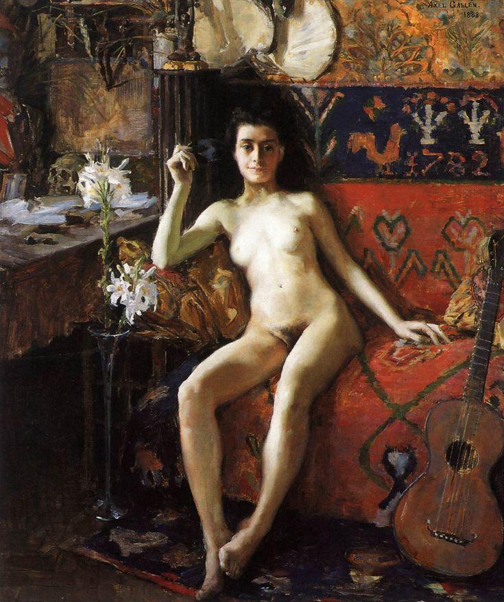GALLEN-KALLELA, Akseli Finnish painter and designer (b. 1865, Pori, d. 1931, Stockholm) Démasquée1888