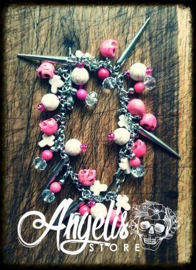 Pink and White Howlite Skull Charm Bracelet