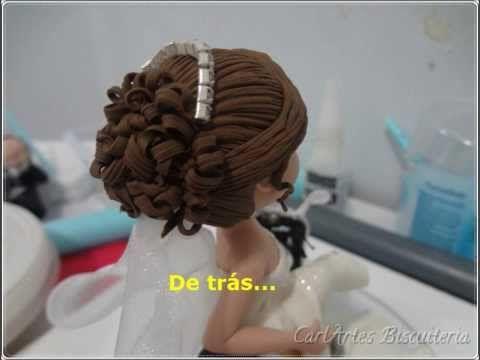 cabelos com luzes para noivas em biscuit - YouTube