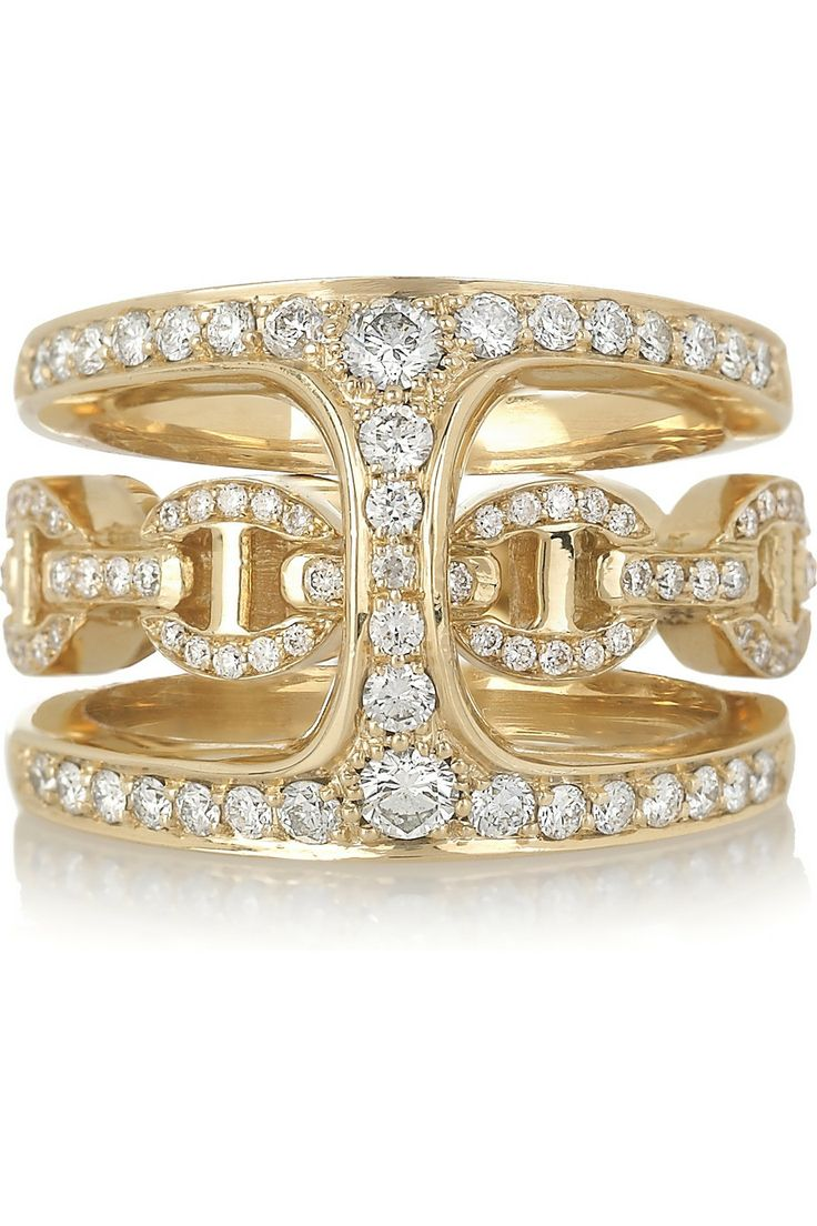 HOORSENBUHS by Robert Keith | Phantom 18-karat gold and diamond double ring | NET-A-PORTER.COM