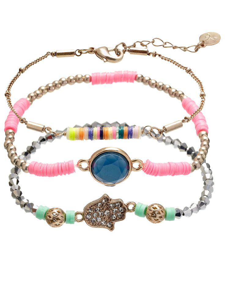 3 x Lux Stone and Bead Friendship Bracelet