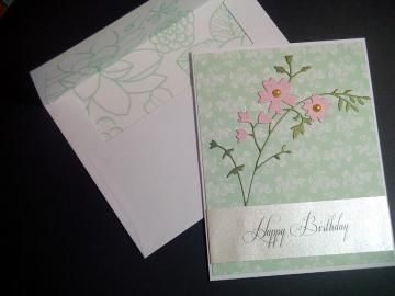 #BirthdayCard with Honey Blossom Sprig Embossed Floral Pink Flower Happy Birthday Card by #BethiesCards for $7.00 #zibbet