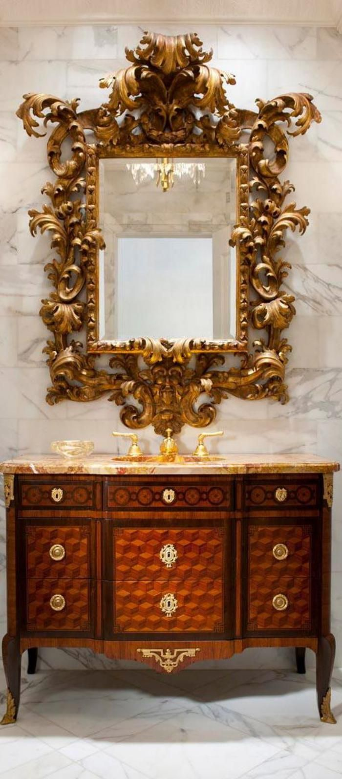 Luxury Powder Room With Gorgeous Baroque Style Carved