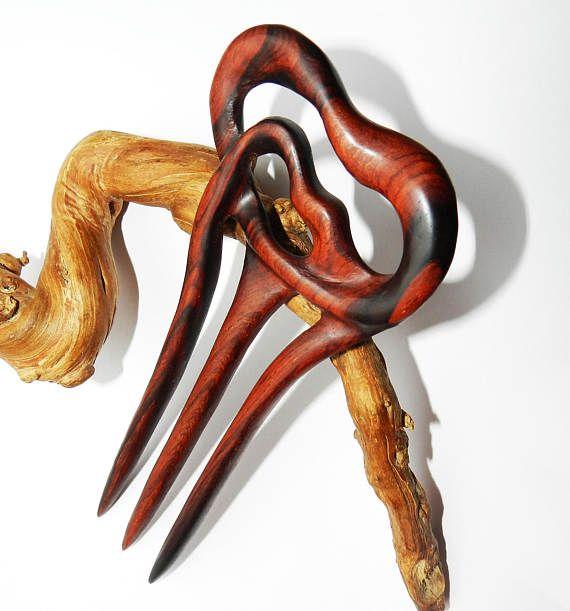 Wooden hair fork Hand carved hair fork Hair Accessory