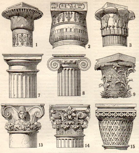 Capitals Architecture Antique Print 1897 Lithograph by Craftissimo, €12.00