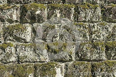 Old stones wall  in village Roznow in Malopolska . Poland . Europe.