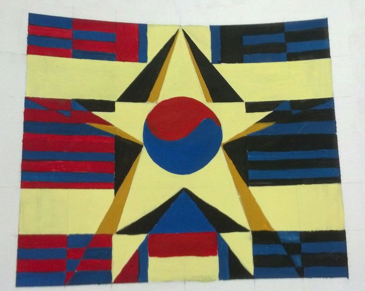 """""""Pride"""" gouache paint,combination of the S.Korean flag and USA."""