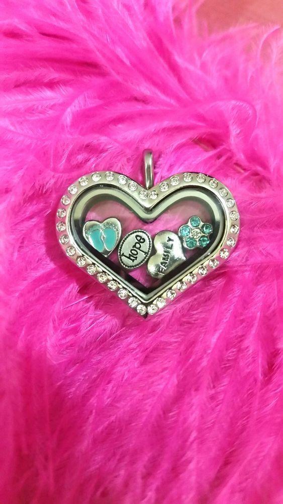Beautiful baby boy stainless steel czech crystal heart floating locket with zinc
