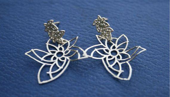 Sterling Silver Flowery Dangling earrings by adybarel on Etsy, $75.00