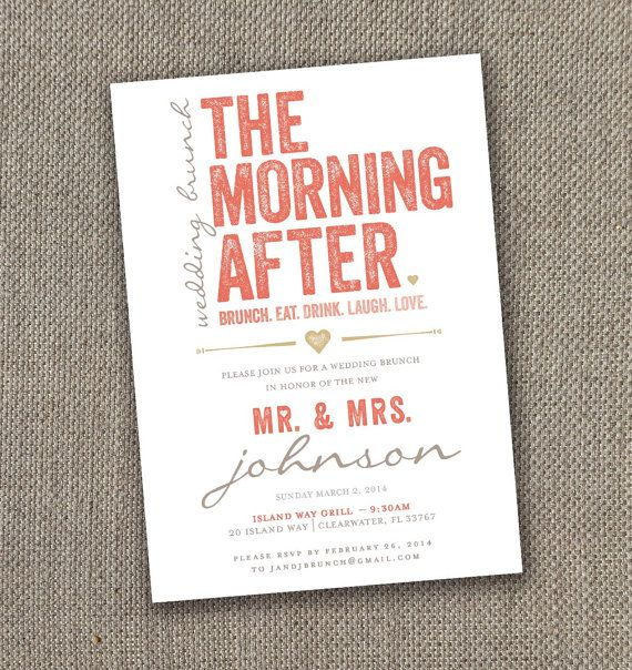 The Morning After - Wedding Brunch Invitation. DIY Brunch Invite. Gold & Coral.