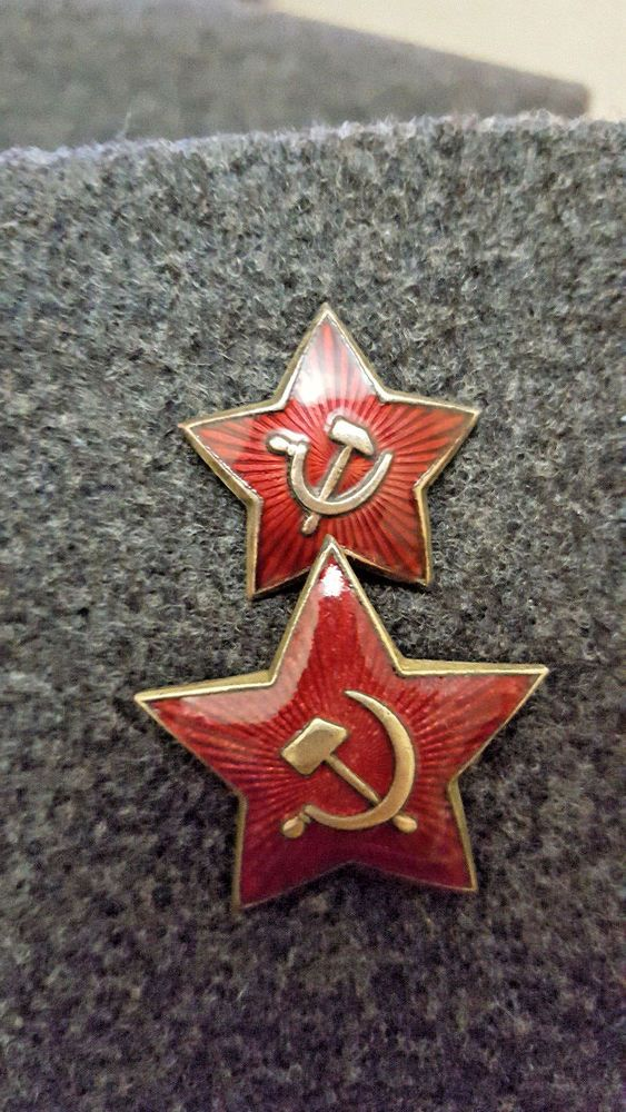 Hat Badge Red Star 100% Original RUSSIAN BADGE WW2 Cap USSR Military Officer EXC