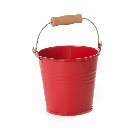 Red Tin Pail Decorations Available in Four Sizes