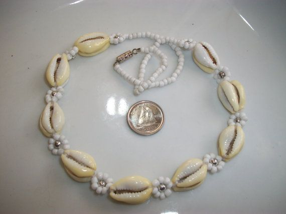 Shell Necklace Daisy Chain Shell Choker Cowrie by Dare2beUNIQUE