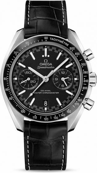 Omega Speedmaster Racing Co-Axial Master Chronometer Chronograph 329.33.44.51.01.001.On the black dial, there is a distinctive racing style minute-track which gives the watch its name. There are also two subdials with blackened applied rings as well as a 6 o'clock date window that blends with the colour of the dial. The hour and minute hands are rhodium plated while the arrowhead indexes are 18K white gold with white Super-LumiNova.