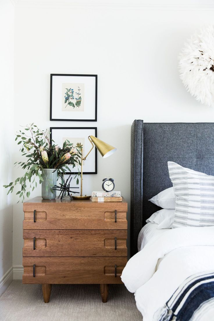 Modern bedroom. Love that upholstered headboard and teh navy grey and white color scheme.