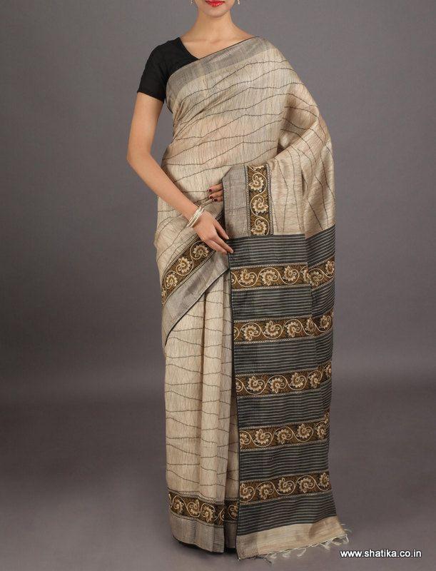 Komal sober and sophisticated thread embroidered #chikankarisilksaree