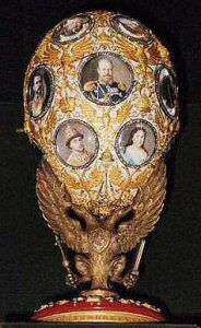 1913 Romanov Tercentenary Egg. Gift Nicholas II to Alexandra Fyodorovna. In 1913, the 300-year rule of Russia under the House of Romanov was recorded in eighteen round diamond frames. When opened a jeweled globe of the Earth appeared.