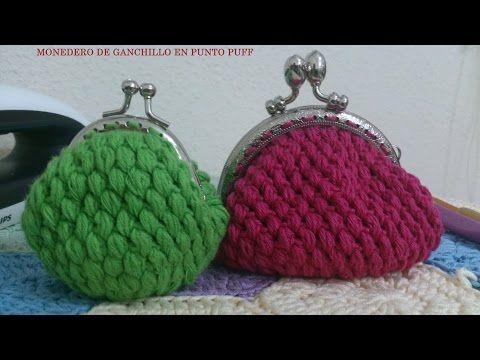 Monedero con broche en punto frijol tejido en circular a crochet - Tejiendo Perú - YouTube