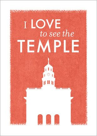 This is for a digital printable art file (in PDF) featuring the Nauvoo temple and the phrase I Love to See the Temple. This design is fun and modern and