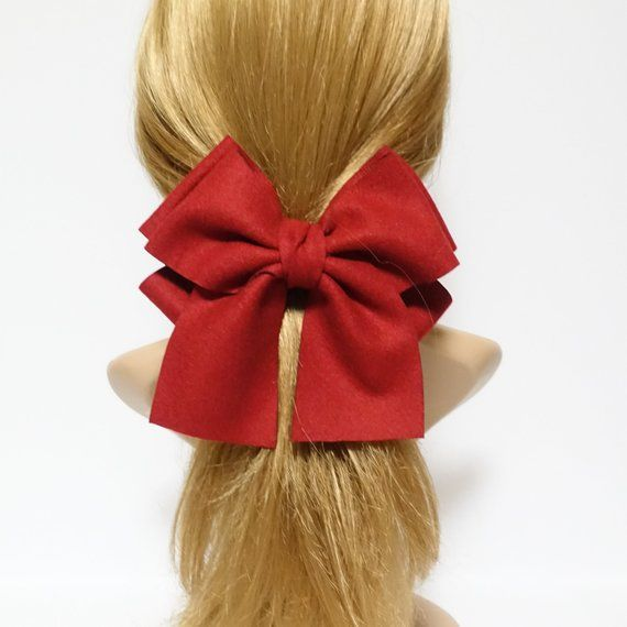 Hair Bow clip Ribbon-Red White Black 18cm long tail-bridesmaid-flower girl party
