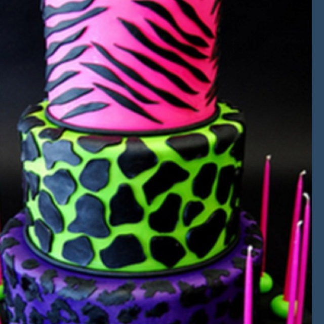 Love this Neon 80's party Birthday cake