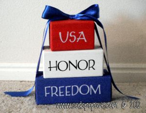 Great Memorial Day decoration. Just takes wood, paint, ribbon and vinyl lettering. Check out how to make it at www.SodaPopAve.com