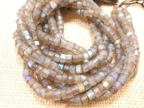 AAA-Genuine-Fine-Labradorite-flat-coin-faceted-blue-flash-beads-14-long-strand