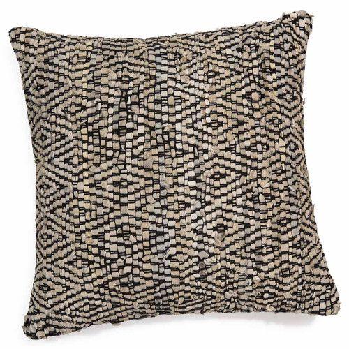 Coussin de sol carré en cuir 60 x 60 cm KALA