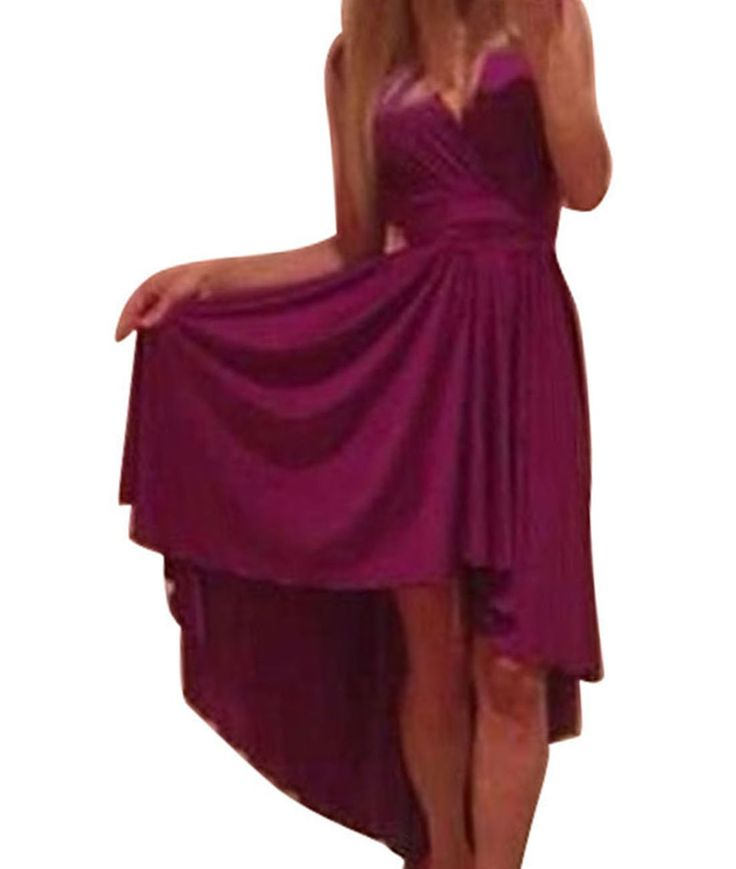 Vakind® Women Sexy V Neck Chiffon Beach Evening Dress Maxi Dress (L=US10, Purple)