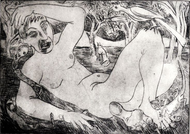 Nicolaas Maritz, BUSHVELD NUDE, 2002, dry-point etching